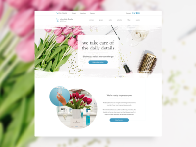 Daily Details Homepage Redesign beauty bar nail salon salon blowout redesign landing page splash page homepage ui