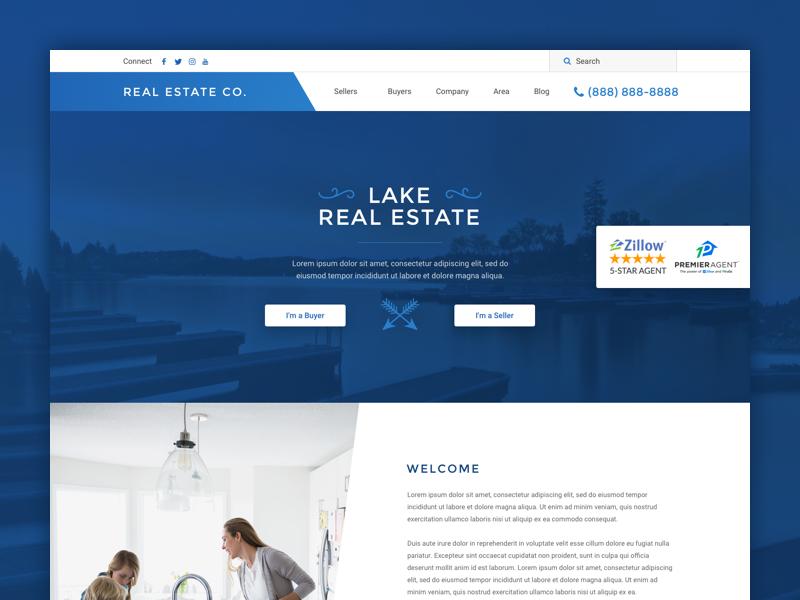 Real Estate Wordpress Theme realtor homepage landing page website real estate wordpress