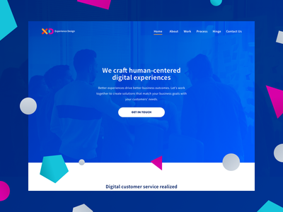 XD Team Site redesign hero shapes vibrant experience design landing page homepage ux ui responsive web