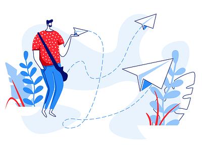 Email Illustration flat characer 2dart 2d dropbox sending send mail app mail pilot mail box mail ui design 2018 illustration