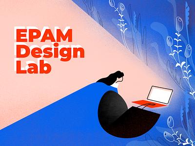 EPAM Design Lab Announce noise laptop plants plant girl welcome registration team design laboratory lab illustrator vector gradient illustration