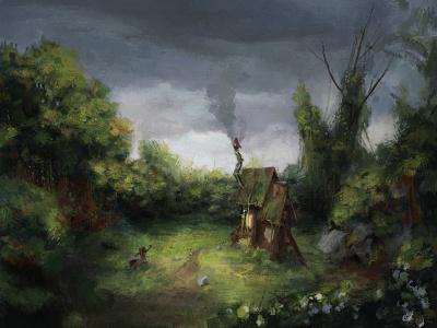 Cottage landscape environment dark concept art concept drawing fantasy painting illustration art