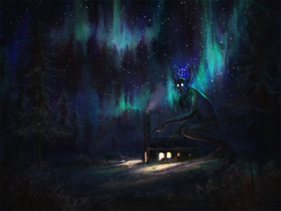 Aurora Spirit aurora borealis drawing fantasy painting illustration art
