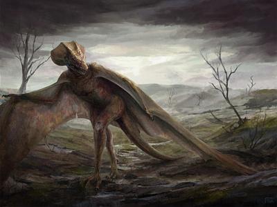 Noided Dragon creature concept art concept landscape dark dragon fantasy painting illustration art