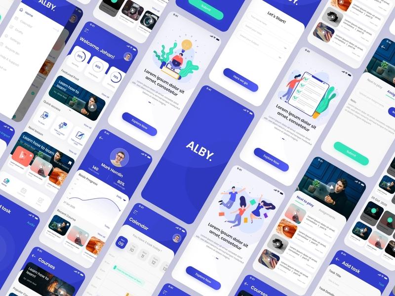 Alby |  online class management systems iOS app UI mockup ios illustration app ux ui uiux