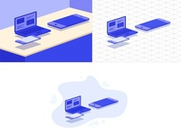 Isometric Illustration With Isometric Tow style Grid
