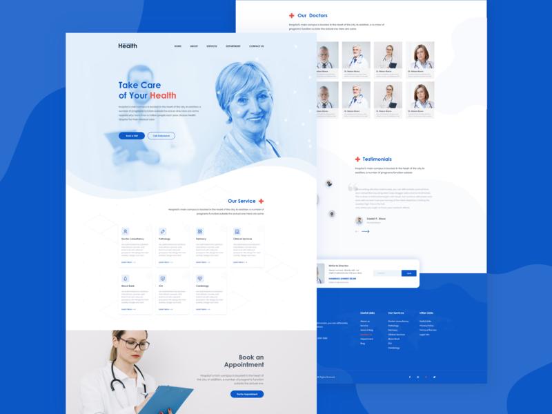 Health Care / Medical Service  Full web Page Design typography ui mockup illustration logo design header page web page web page design health app health care medical  pharmaceutical landing page ux uiux
