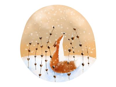 Fox character design snow winter scene drawing wildlife digital art artist scenic winter illustration animal fox