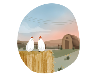 Chicken Farms drawing village environment photoshop digital art sunrise illustration farm chickens
