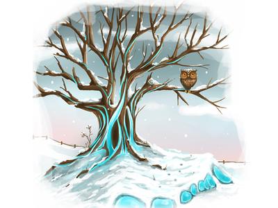 Seasons Change (Winter) work in progress winter design seasons owl character animal environment drawing illustration digital art