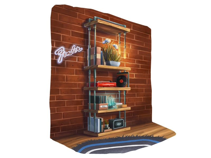 Book Shelf texture industrialdesign books digital 2d music bookshelf drawing digital art illustration
