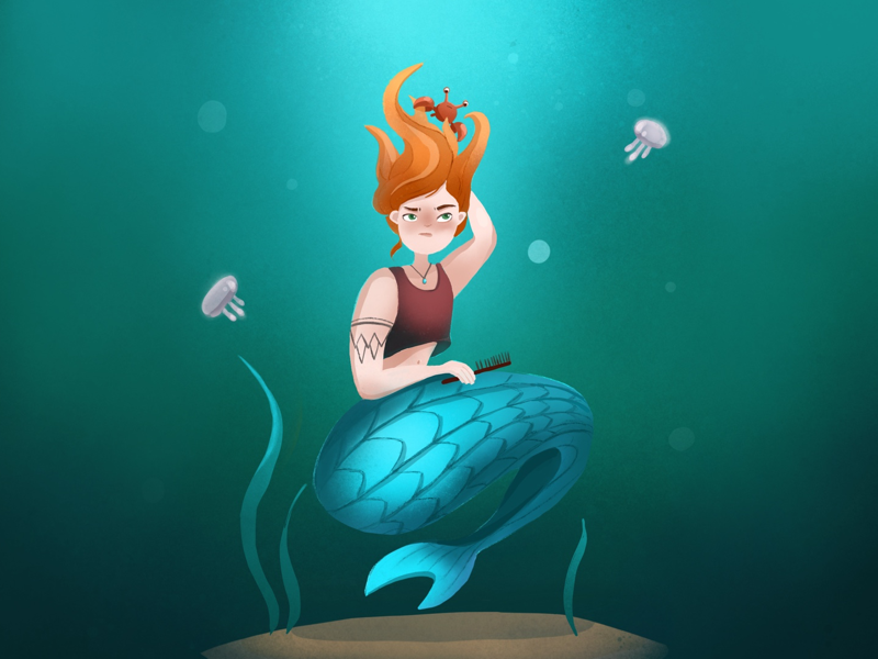 Mermay art sea life painting digital art drawing character design mermaid illustration
