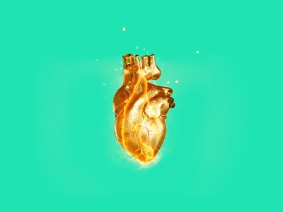 C Y C L E behance digital spark fire green gold adobe art 3d design hand heart surreal photoshop photomanipulation