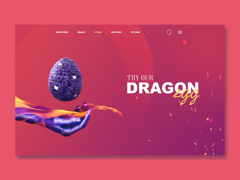 RANDOM LANDING PAGE! web site interaction landing page egg dragon scketch ux ui design