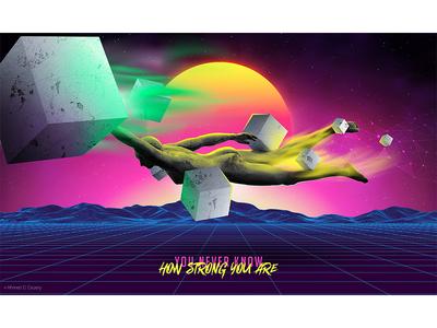 Super Power mountian design fly 3d sun art blue girl surreal adobe digital photomanipulation photoshop