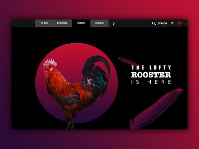 Lofty rooster red art design rooster vector illustration photomanipulation web design sketch digital landing page ui