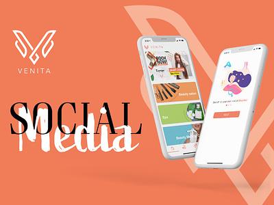 Social media for Venita presentation mockup app grid instagram qatar colors behance ui  ux photoshop facebook ads social media