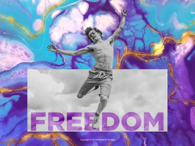 Freedom illustration man bw blue gold jump surreal mixed marble photoshop digital art photomanipulation