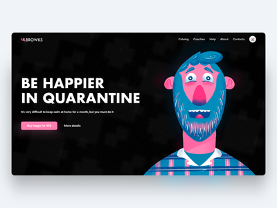 Be happier in quarantine hero typography design web hero page pink illustrator man illustration happpier quarantine