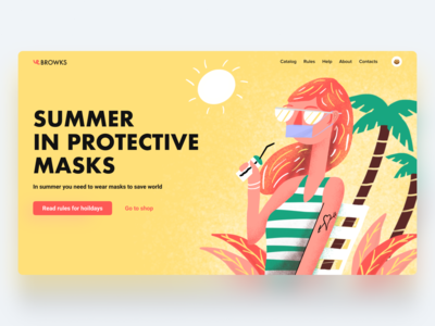 Future summer hero page web interface design ui shop mask illustration holidays covid protective future summer