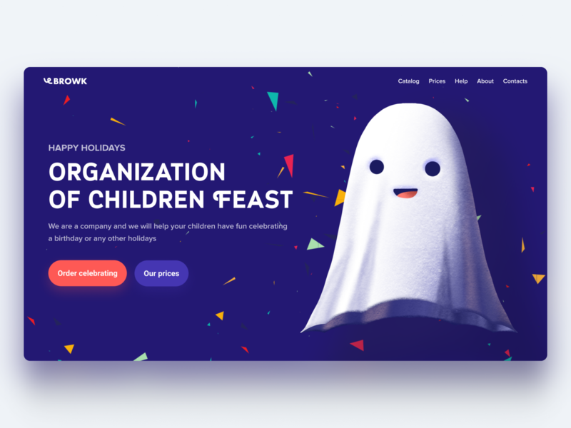 Concept for holidays agency cartoon illustration typography hero page web interface design ui ghost holidays agency