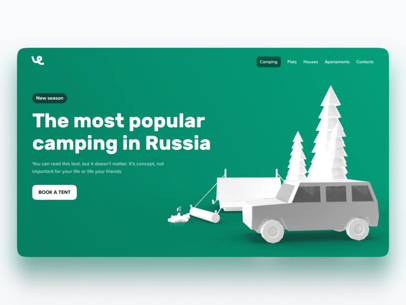 Landing for rent of camping hero hero page tent camping tree car design green vectary 3d ui web redesign rent