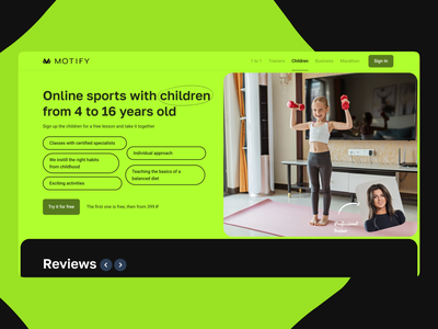 Sport for kids hero page web gym online workouts sports online coaches videocall kids design ui landing