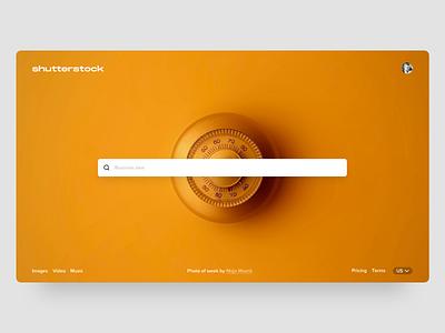 Shutterstock logo hero ux hero page interface design typography shutterstock
