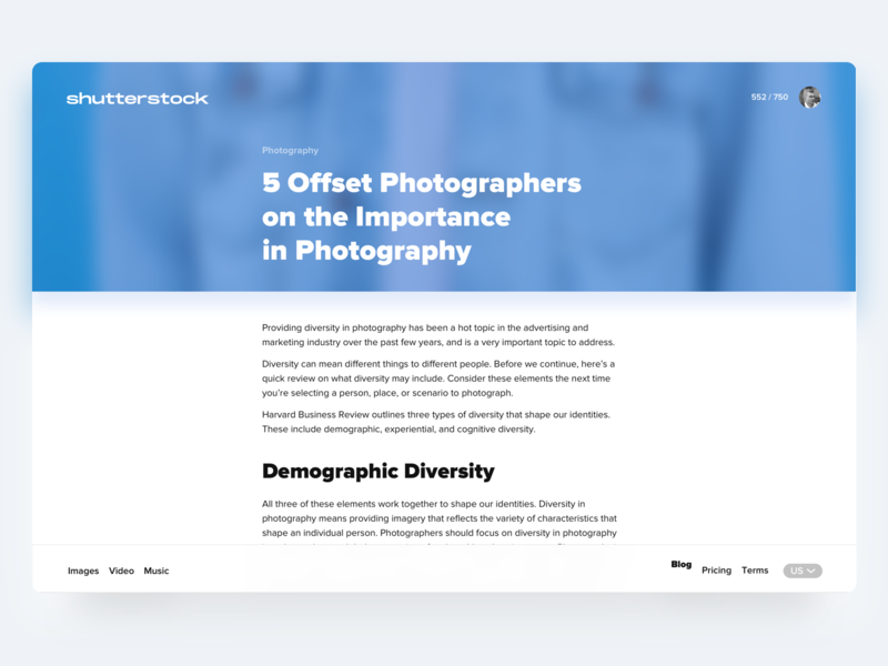 Article View for Shutterstock blog typography design web ux ui article shutterstock