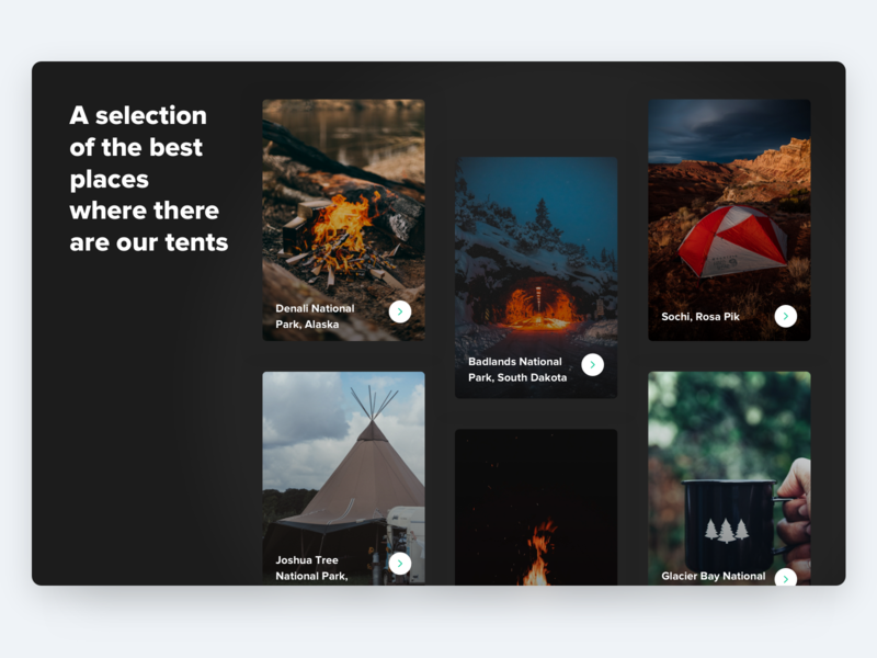 Collection of places typography ux web interface design ui