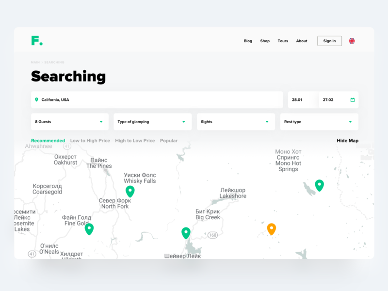Searching of camping search typography hero hero page web interface design ui
