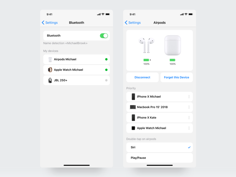 Airpods Settings animation card ux interface design ui airpods apple