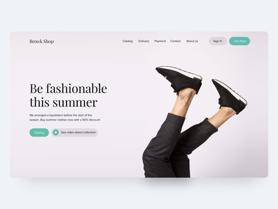 Main page for BrowkShop fashion main logo hero page web design ui