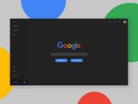 Google Redesign - Dark with menu open