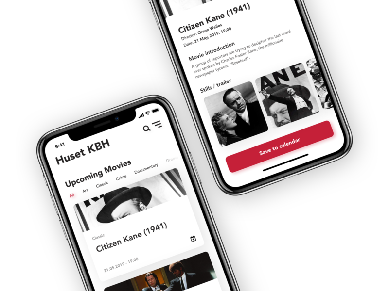 Event App - Huset KBH tickets denmark huset kbh huset graphic design volunteer concert music movie screens service iphone local button ui ux design exploration app event