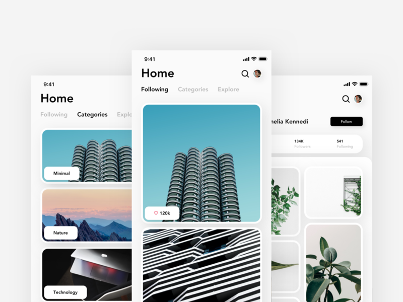 Minimal Photo sharing - Exploration share images picture photography photo sharing photo user interface mobile app branding ui design modern design concept copenhagen ux ui app minimalist minimal