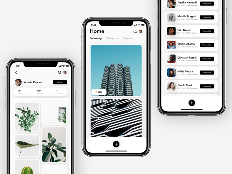 Minimal Photo sharing - Exploration minimalist app ui ux copenhagen concept design modern ui design branding mobile app user interface user experience photo sharing photography picture uiux userinterface userexperiencedesign minimal