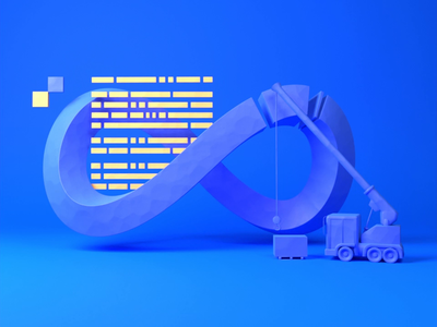 DevOps animated illustration objectivity animation low-poly illustration design 3d