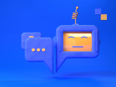 Let a bot do the talking. objectivity animation low-poly illustration 3d