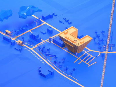 3D animated map with driving directions to Objectivity office. map low-poly 3d objectivity design illustration