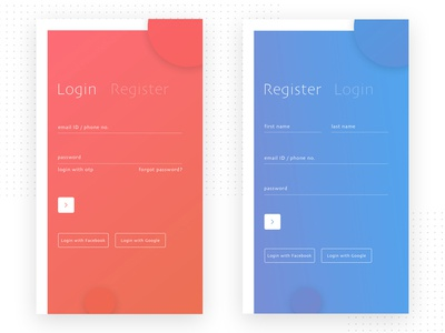 Credential screens for mobile app - Login and register UI