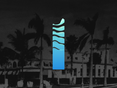 Solid as Water trees palm illustration pillar art fluid water