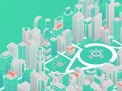 Make Your City Smaller line content brand visit green city isometric