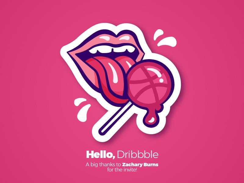 My First Shot :) lollipop sticker design graphic lips dribbble hello debut illustration pink