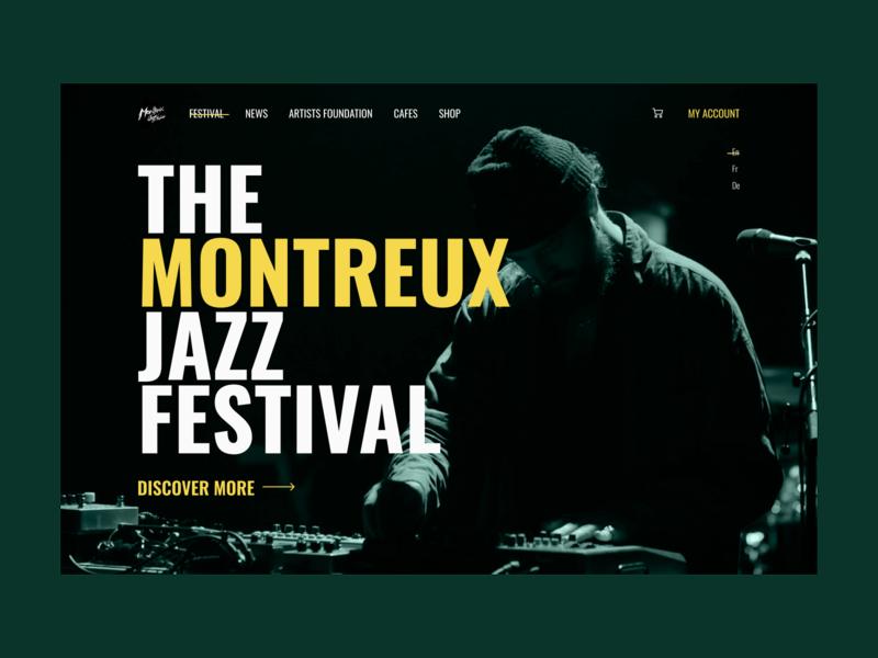 The Montreux Jazz Festival Design Concept ui landing landingpage landing design desktop design concept concept
