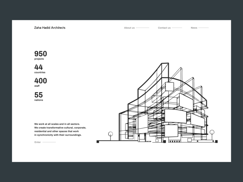 Zaha Hadid Architects Design Concept landing page landing ui landingpage landing design desktop design concept concept