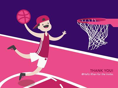 Dribbble Debut Shot thankyou designing graphic invitation invite artwork design illustration basketball game debut shot dribbble