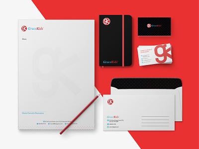 GraceKids Branding identity graphic typography flat icon stationary businesscard logo design branding kids grace