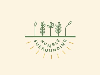 Humble Surroundings Logo typography branding graphic flat icon green logo greenery logos logo surroundings surrounding humble