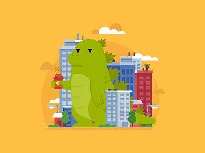 Monday Mornings yellow clouds city dinosaur godzilla dino